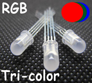 100-X-5mm-4pin-Tri-Color-Diffused-RGB-Common-Cathode-Red-Green-Blue-LED