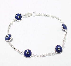 Royal-Blue-Evil-Eye-Luck-Bracelet-925-Sterling-Silver