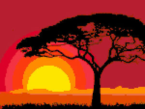 Dettagli su SCHEMA SCHEMI PUNTO CROCE TRAMONTO AFRICA PAESAGGI DMC