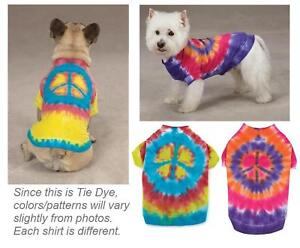 TIE-DYE-PEACE-SIGN-TEE-Cool-Dog-T-Shirt-Pet-Clothes-New