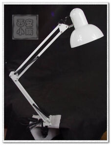 White Swing Dual Arm Table Lamp Clamp On Desk Lighting