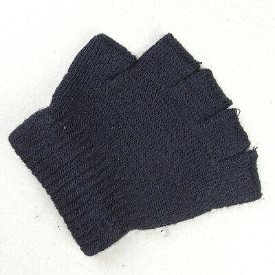 Boys Girls Kids Plain Black Fingerless Gloves Knitted
