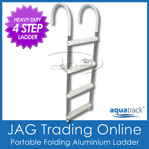 HEAVY-DUTY-4-STEP-ALUMINIUM-FOLDING-BOARDING-LADDER-Boat-Yacht-Portable-Pool