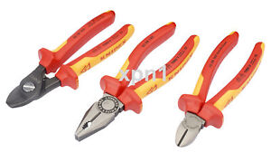 Knipex 3 Piece VDE Insulated Set Side Cutter Cable Shears Combination Pliers