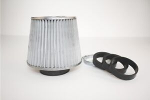 Universal-Cone-3-Sports-Air-Filter-STEEL-Silver-Chrome