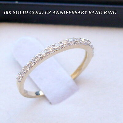 10K SOLID GOLD LADIES CZ ANNIVERSARY WEDDING BAND RING SIZE 7+-1