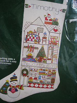 Dimensions Crewel Embroidery Stitchery Christmas Stocking Kit,country Store,8039