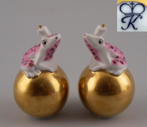 Kämmer-Porcelain  Shaker Frog on Golden Ball Pink H8, 5cm a3-44071