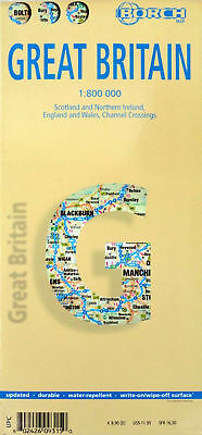 NEW 2008~MAP OF GREAT BRITAIN~Borch,+Scotland, No.Ire,Wales w/ Index,Waterproof