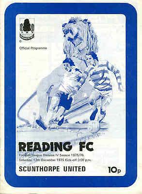 Football programme - Reading v Scunthorpe Div 4 1975