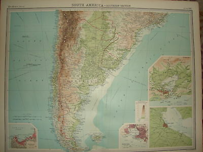 1920 LARGE MAP SOUTH AMERICA SOUTHERN SECTION 23