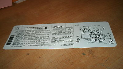 1987 Chevrolet Monte Carlo Ss Engine Emissions Decal