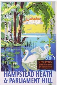 1933 Hampstead Heath London Tramways  A3 Poster Reprint