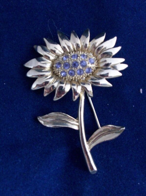Pin Brooch Purple Rhinestones  Sunflower Goldtone Metal Very Pretty