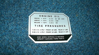 1957 Ford Ranch Wagon Country Sedan Tire Pressure Decal
