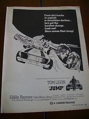 1971 JUMP TOM LIGON RACE CAR MOVIE *ORIGINAL VINTAGE AD