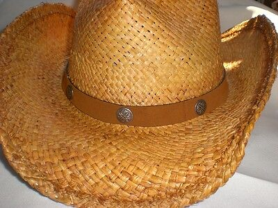Minnetonka Cowboy Dude Crushable Straw Hat Large/xl-new With Tag
