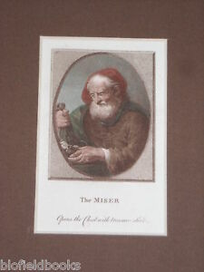 Hand-Coloured-and-Mounted-Georgian-Engraving-The-Miser-1789