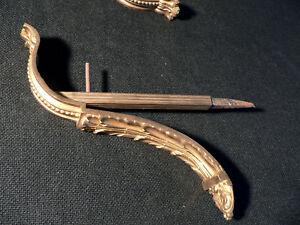 Set-4-Federal-NeoClassical-curtain-rod-pole-brackets-c1820-brass-9-5-dp