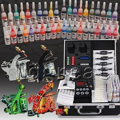 Complete Tattoo Kit 4 Machine Guns Set Equipment Power Supply 40 Color Inks D139 on Rummage