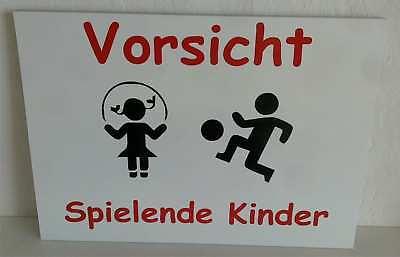 Schild Achtung Spielende Kinder Warnschild Langsam Kind