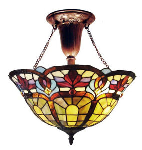 tiffany style stained cut glass victorian reverse hanging. Black Bedroom Furniture Sets. Home Design Ideas