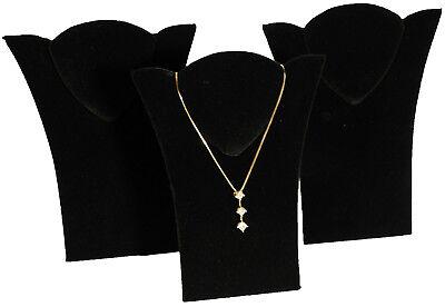 3 New Black Velvet Padded Necklace Pendant Display 6