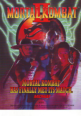Midway MORTAL KOMBAT II Original NOS 1993 Video Arcade Game Promo Flyer MK 2