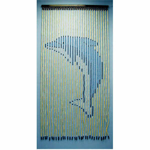 6434-DOLPHIN-Wood-Bead-Door-Curtain-30-strands-NEW