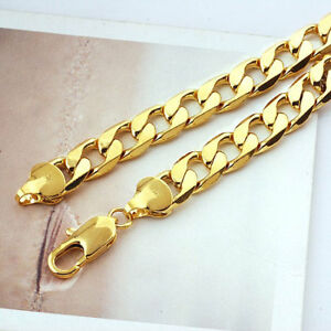 Heavy-Free-shipping-Classic-mens-18k-yellow-solid-gold-GF-chain-necklace-23-6in