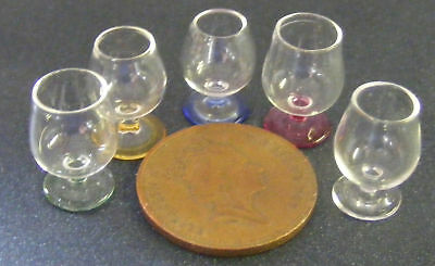 1:12 Scale Clear Brandy Glass + Coloured Base Dolls House Miniature Accessory