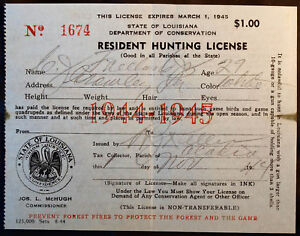 Rw11 duck stamp attached la hunting license bl9723 ebay for Louisiana fishing license online