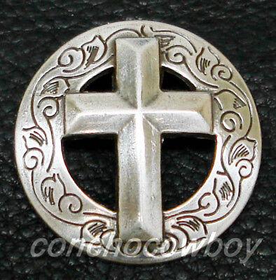 "Set of 6 WESTERN ANTIQUE CHRISTIAN CROSS CONCHOS 1-1/8"" screw back"