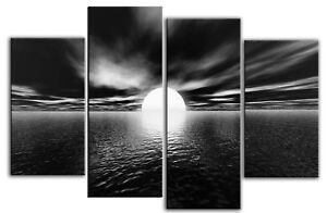 LARGE-BLACK-WHITE-CANVAS-PICTURE-SEASCAPE-SEA-SUNSET