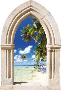 Sticker trompe l 39 oeil arche palmiers ebay - Sticker exterieur trompe l oeil ...