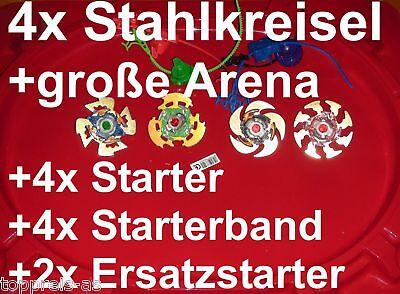 4x METALL KAMPFKREISEL + ARENA für BEYBLADE + STARTER Kreisel Reißleine