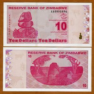Zimbabwe-10-2009-P-94-AA-prefix-UNC