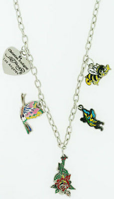 Ed Hardy Rose Drop Necklace For Nbc Shop Pouched -new