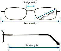 glasses spectacles frame measurements and sizes