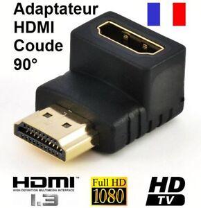 Adaptateur Coupleur HDMI Coude 90° Femelle Mâle Or - France - État : Neuf: Objet neuf et intact, n'ayant jamais servi, non ouvert, vendu dans son emballage d'origine (lorsqu'il y en a un). L'emballage doit tre le mme que celui de l'objet vendu en magasin, sauf si l'objet a été emballé par le fabricant d - France
