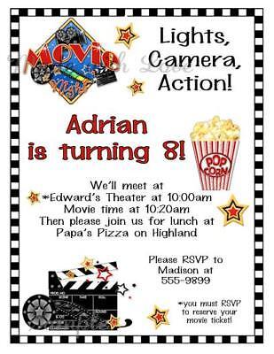 Movie Themed Invitations (10 - Movie Night Theme Boy or Girl Birthday Party Invitations CUTE)