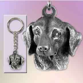 DACHSHUND PEWTER Dog Head Keychain Key Chain Ring NEW
