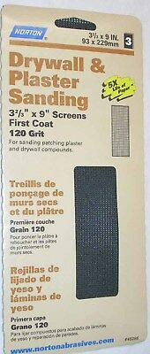 12 Sheets Norton Drywall Plaster Sanding Screens 120 Gr