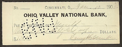 Ohio Valley National Bank Cincinnati  Oh Check Fiscal Relic  Muller 1902