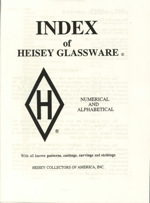 INDEX of Heisey Glassware