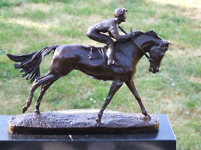 WONDERFUL PURE 100% BRONZE HORSE AND JOCKEY RACEHORSE STATUE see my other items