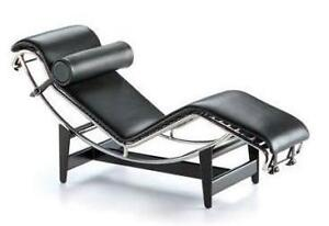 LE CORBUSIER BLACK LEATHER RETRO CLASSIC CHAISE LOUNGE REPLICA DESIGNER FURNITUR