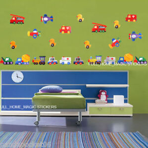Toy-Cars-Truck-Duck-Transport-Self-adhesive-Nursery-Wall-Stickers-Kids-Decor