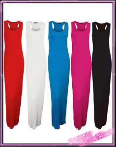 Ladies-Womens-Long-Plain-Maxi-Dress-in-Pink-Black-Cream