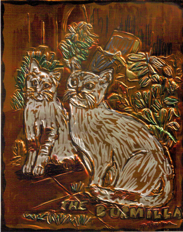 """THE BURMILLA""by RUTH FREEMAN ETCHED COPPER FOIL 8""X10"""